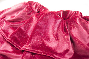 Red Sparkle Velvet Ruffled Skirt Bloomers