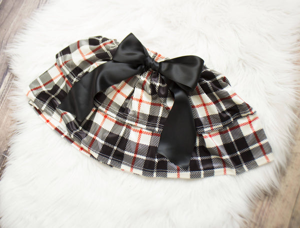 Off White and Black Plaid Velvet Ruffled Skirt Bloomers