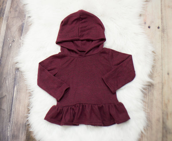 Maroon Heather Hooded Peplum ©