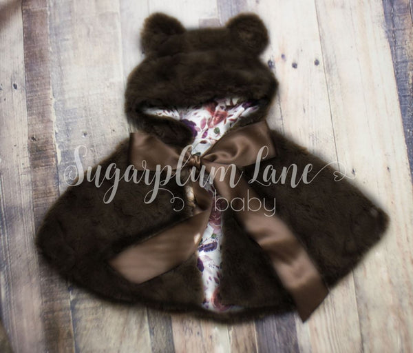 Brown Silk Teddy Bear Cape Coats/vests/capes