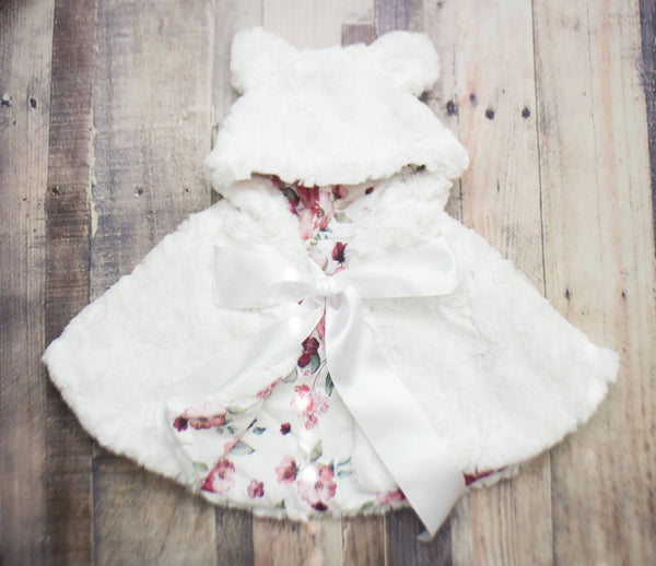 White Silk Teddy Bear Cape