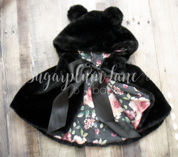 Black Silk Teddy Bear Cape Coats/vests/capes