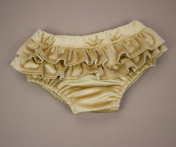 Golden Honey Velvet Ruffle Bloomers