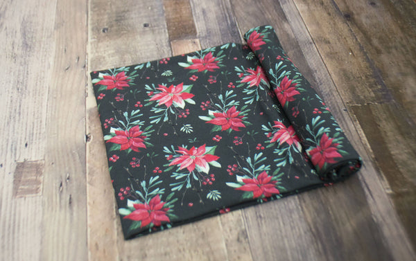 Poinsettia Knit Swaddle Blanket©