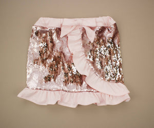Blush and Gold Mermaid Sequin Ruffled Skort