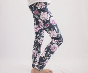 Blush and Lavender Flower Leggings
