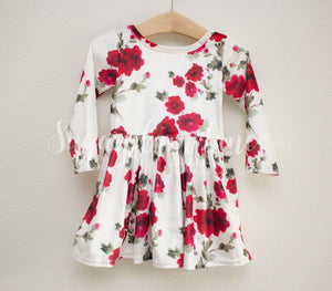 Red Flower Velvet Leotard Twirl Dress Leotards