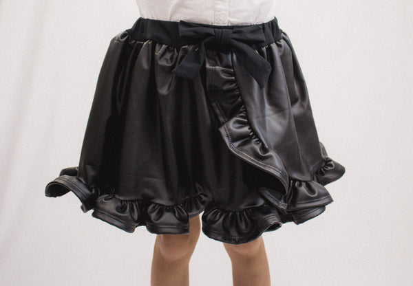 Black Faux Leather Ruffled Skort
