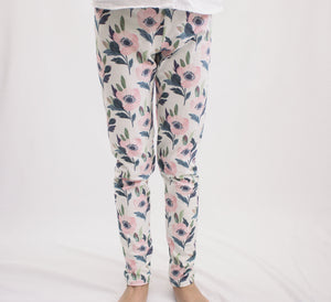 Blush and Navy Flower Leggings