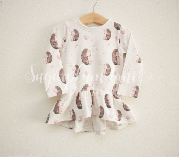 Hedgehog Ruffled Long Sleeve Top Leotards