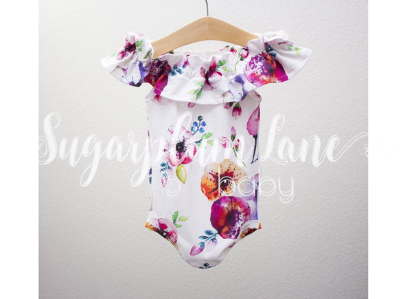 Ruffled Off the Shoulder Evangeline Leotard