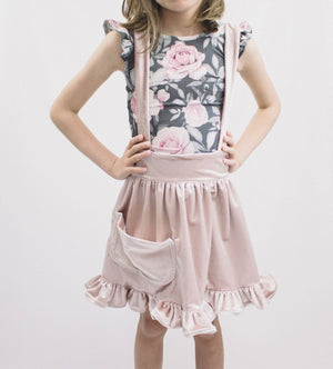 Dusty Pink Velvet Pinafore