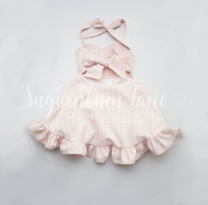 Pink Pinstripe Sweetheart Ruffled Twirl Dress Leotards
