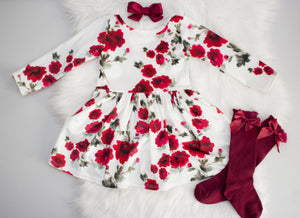 Red Flower Velvet Leotard Twirl Dress