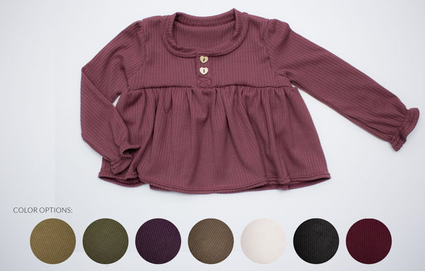 Long Sleeve Rib Knit Shirt-choose your color ©