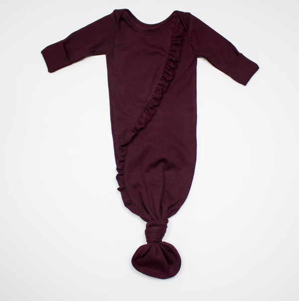 Organic Cotton Burgundy Knot Gown