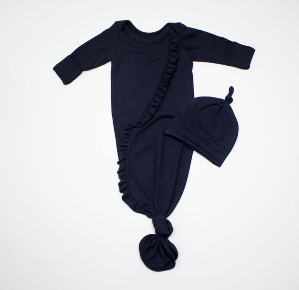 Organic Cotton Navy Knot Gown
