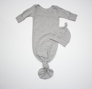Organic Cotton Heather Grey Knot Gown