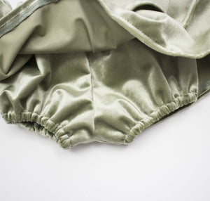 Sage Velvet Ruffled Skirt Bloomers