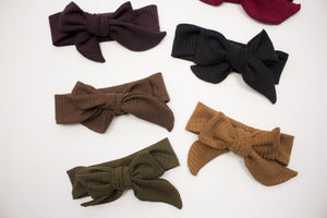 Rib Knit Bow Headband- choose your color