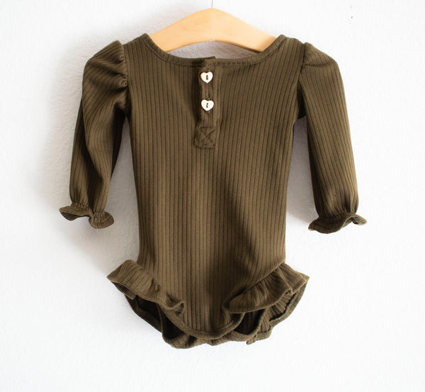 Ribbed Knit Leotard-Olive