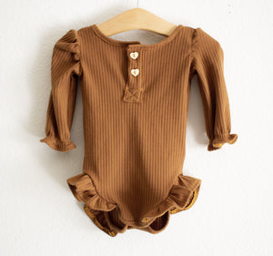 Ribbed Knit Leotard-Caramel©