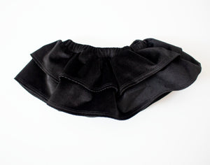 Black Velvet Ruffled Skirt Bloomers