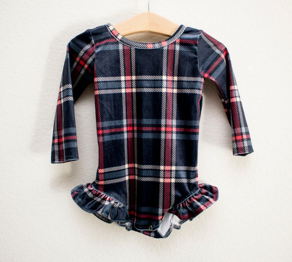 Plaid Velvet Ruffle Leotard
