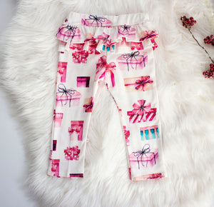 Christmas Gift Ruffle Leggings