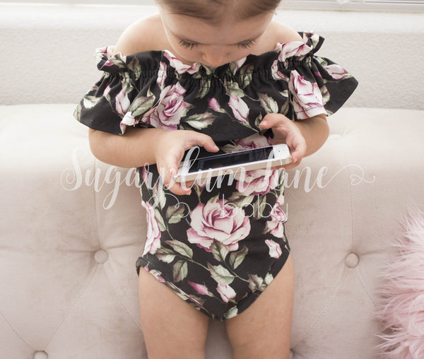 Blossom Ruffled Off the Shoulder Leotard