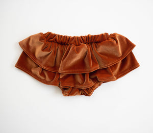 Pumpkin Spice Velvet Ruffled Skirt Bloomers