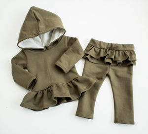 Cozy Olive Hooded Snuggle Set