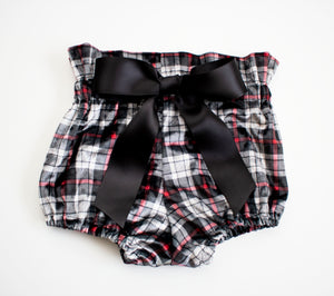 Black and Grey Crushed Velvet Plaid Bow Bloomers