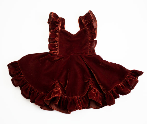 Cinnamon Spice Velvet Pinafore Dress ©