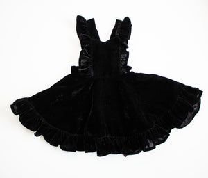 Black Velvet Ruffled Sweetheart Pinafore Dress ©