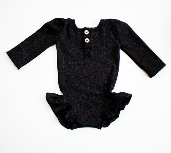Black Sparkle Thermal Leotard