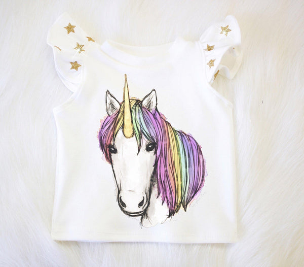 Unicorn w/ Gold Glitter Star Flutter Sleeve Top (Organic Cotton)