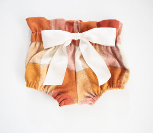 Pumpkin Flannel Bow Bloomers