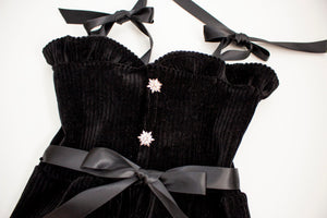 Black Velvet Ribbed Stretch Romper ©