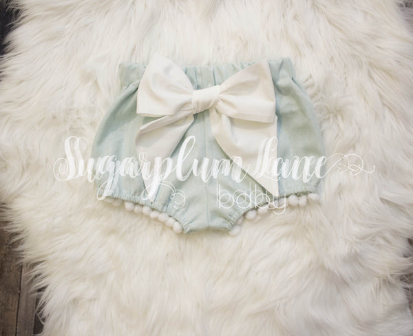 Nordic Blue Pom Bow Bloomers