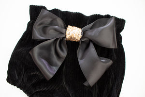 Black Ribbed Velvet High Waist Bloomers