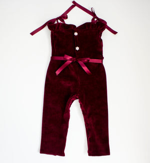 Ruby Velvet Ribbed Stretch Romper ©