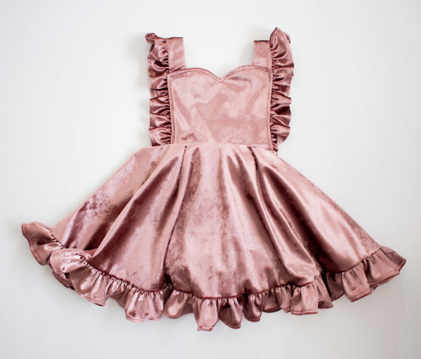 Blush Velvet Pinafore Dress ©