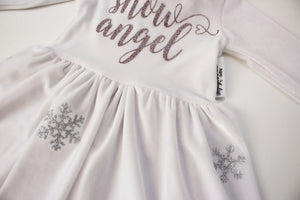 Snow Angel Fur Trim Twirl Dress ©