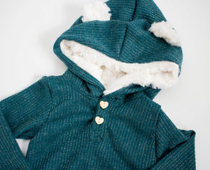 Ribbed Sparkle Teddy Bear Onesie Teal ©