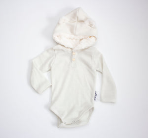 Ribbed Sparkle Teddy Bear Onesie White ©