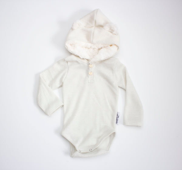 6-12 Month Ribbed Sparkle Teddy Bear Onesie White ©
