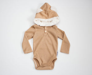 Ribbed Sparkle Teddy Bear Onesie Gold ©