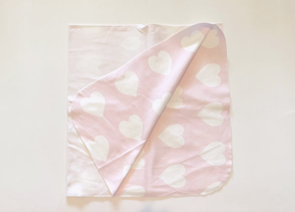 White Heart on Pink Swaddle Blanket©