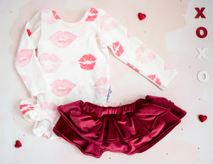 Lovely Lips Velvet Ruffle Leotard